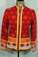 Women's Bogner Knit Cardigan Full Zip Sweater Size 8 / Medium Colorful Fair Isle