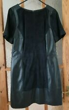 """M&S AUTOGRAPH Navy Soft Real Leather & Suede Shift Dress Size:14 - Chest: 38/40"""""""
