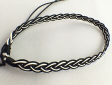 Black and White Waxed Cotton Bracelet Wristband Anklet Mens Womens Kids / Beach