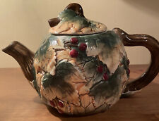 New listing Ceramic Teapot Green Gold Leaves And Berries Unmarked