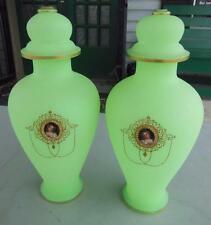 ANTIQUE MATCHING SET GREEN OPALINE GLASS VASE URNS CAMEO FRENCH VICTORIAN