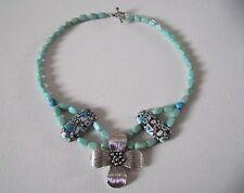 Collier howlite bleu & Pendant argent tibétain * Fabrication artisanale * Cadeau