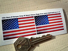 USA Stars & Stripes Flag Dirty & Faded pair of 50mm Car/Motorcycle Stickers