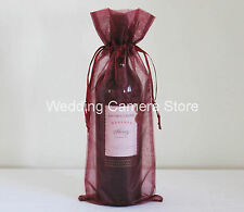 "10 Pink Wine Organza Pouch Gift Bag 6/""x14/"""
