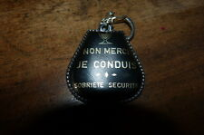 SOBRIETE SECURITE - NON MERCI JE CONDUIS - CUIR NOIR - Porte-clef / Keyring !!!