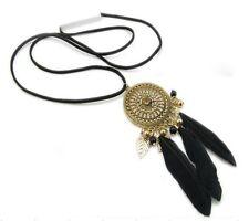 Forever 21 dream catcher black feather filigree pendant rhinestone necklace New