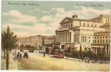 Litho Warschau,Theaterplatz, Warszawa, Plac Teatralny, Straßenbahn,  ca. 1910