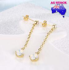 Wholesale 18K Gold Filled GF White Opal Crystal Long Drop Earrings Dangler