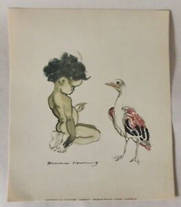 Genuine Vintage Brownie Downing Aborigine Print, Cute Colour Picture, 1950s