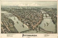 "20x30"" CANVAS Decor.Room design art print..Pittsburgh Bird eye view.Aerial.6113"
