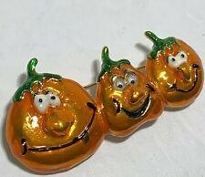 Vintage Signed Danecraft Triple Pumpkin Pin Jack O Lanterns Enamel Googly Eyes