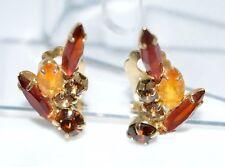 VTG DeLizza & Elster JULIANA Gold Tone Topaz Glass Rhinestone Clip Earrings