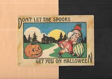 JOL SCARES GIRL On Spooky Vintage 1916 HALLOWEEN Postcard