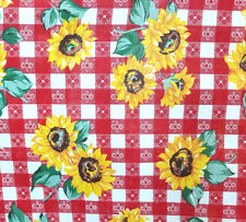 """RED COUNTRY PICNIC PRINT SUNFLOWERS POLY COTTON TABLECLOTH FABRIC 60"""" BYTHE YARD"""