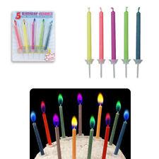 5 Bougies d'Anniversaire à Flamme Colorée - Bougeoir couleurs magiques enfant