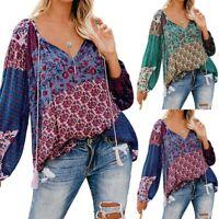 Women Floral Print Boho Baggy Blouse Shirt Tops Long Sleeve Hippie Pullover Tee
