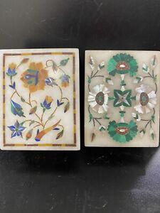 vintage carved stone box lot pietra dura inlaid malachite antique lapis mop Jewe