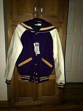 Ladies DeLong Letterman Jacket Size S Purple & White Genuine Leather Sleeves