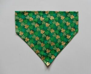 ST. PATRICK'S DAY GREEN/GOLD SHAMROCKS ON GREEN DOG SCARF/BANDANA--S, M, L