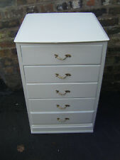 Vintage Small French Louis Style White Bedside Chest of Drawers - With glass top