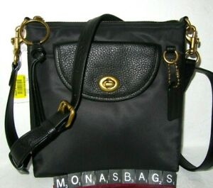 Coach 868 Black Nylon Cargo Crossbody Handbag Rose Print interior NWT $140