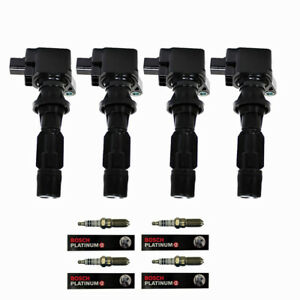Engine Ignition Coils + Bosch Spark Pluhs for Ford Fusion Mercury Milan 2.3L L4