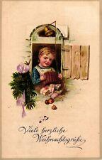 Weihnachten, Mädchen, Geschenke, Fenster, um 1910/20