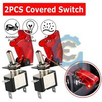 2X C1  Red Cover LED 12V 20A Light Rocker Toggle Switch SPST ON/OFF Car Truck