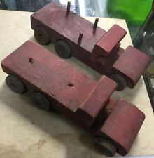 """2 1930's Red Wooden Trucks w/ Tin Wheels 8""""x 2.25"""""""