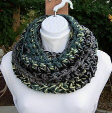 INFINITY SCARF LOOP COWL Black Gray Grey Teal Yellow, Crochet Knit Thick Winter