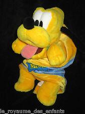Doudou Peluche Chien jaune Pluto couverture lange carré bleu Disneyland Disney