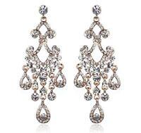 Chandelier Dangle Rose Gold Austrian Crystal Rhinestone Earrings Studs Wed E123g