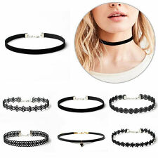 Set of 6 Classic Black Velvet Chokers Gothic Tattoo Lace Collar Necklace Jewelry