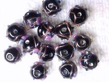 Vtg 30 RARE BLACK HUGE WEDDING CAKE BEADS 10 X 13mm PINK ROSE necklace #080518b