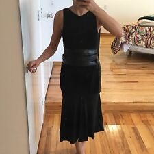 DONNA KARAN NY BLACK SLEEVELESS DRESS WITH BLACK LEATHER LONG BELT, SIZE S