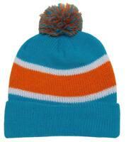 Winter Striped Beanie w/ Pom - Blue and Orange