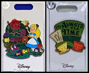 Disney Parks 2 Pin Lot Alice & friends large pin + Mad Hatter Tea Cups - NEW