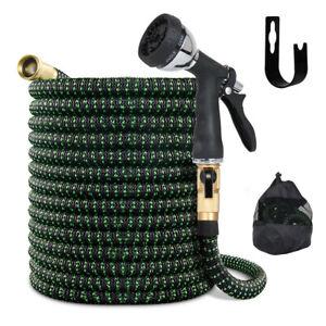 25 50 100 FT Expandable Flexible Garden Water Hose Pipe Spray Gun Brass Fitting