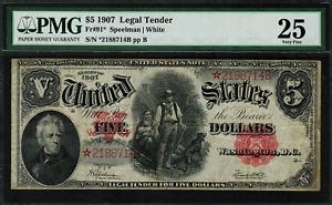 1907 $5 Legal Tender FR-91* - WoodChopper - STAR NOTE - Graded PMG 25 - VF