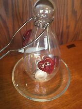 Bird Feeder blown glass With Handcrafted Glass Heart  Attachments