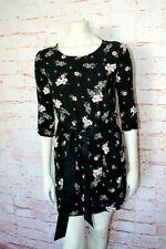 ❤️ H&M ❤️elegantes Blusen Kleid Hemdkleid 38 schwarz Blumen rosa Shirtkleid ❤