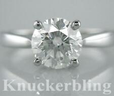 Diamond Solitaire Round Ring 1.52ct Certified Brilliant Cut F VS2 Ex in Platinum
