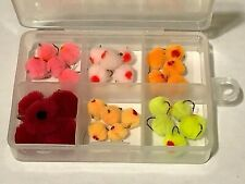New Listing30 Egg Flies & 6 Compartment Fly Box, Fly Fishing, Nr