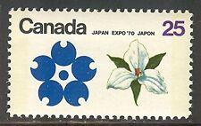 Canada #511p, 1970 25c White Trillium (Ontario) - EXPO '70 Issue, Tagged NH