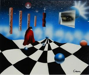 CONTEMPORARY MODERNIST SURREALIST ACRYLIC PAINTING - HEAVEN & EARTH - CROM   P96