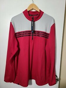 1 NWT ADIDAS CLIMACOOL MEN'S PULLOVER, SIZE: X-LARGE, COLOR: RED/GRAY (J65)