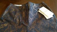 Escada - New With Tags - Women's Black Lace Over Copper Pants - Size 34