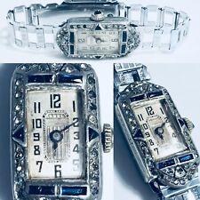 Vintage Art Deco didisheim Ditisheim Ladies  wrist watch filigree Sapphire