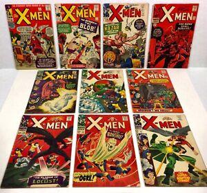 X-MEN #2,7,10,17,18,21,22,24,28,29 (Raw 10-issue comic LOT! KEYS) 1963-67 Marvel