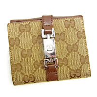 Gucci Wallet Purse GG Brown Beige Woman unisex Authentic Used Y6988